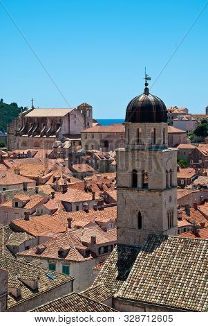 Dubrovnik, Croatia: View Over The Rooftops, St. Saviour Church (in The Front), And Saint Ignatius Ch