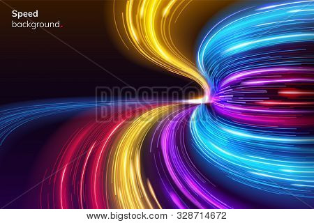 Fast Speed Lines Curve For Racing Background. Abstract Modern Sport Layout Or Dynamic, Geometric Rac