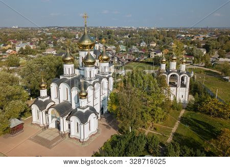 Aerial Summer View Of Nikolsky Monastery Wiht Bright Golden Domes Is A Russian Orthodox Monastery In