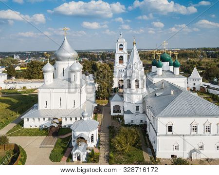 Aerial Summer View Of Wight Nikitskiy Monastery With Silver Domes In Pereslavl Zalessky, Yaroslavl R