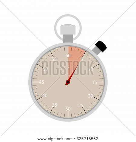 Highlighted Five Seconds On Stopwatch. Vector Five Minute Clock, Number Chronometer, Quick Measureme