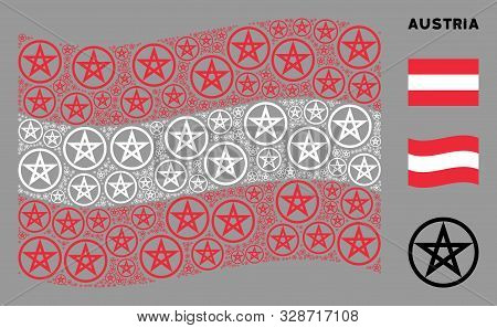 Waving Austrian State Flag. Vector Star Pentacle Design Elements Are Grouped Into Mosaic Austrian Fl