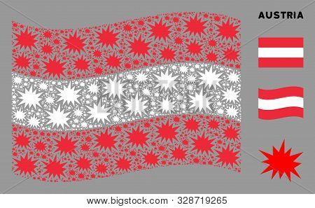 Waving Austrian Flag. Vector Bang Design Elements Are Organized Into Geometric Austrian Flag Collage