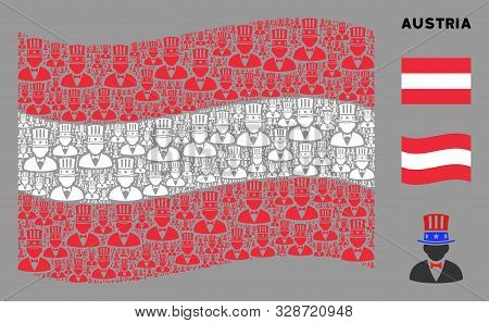Waving Austria Flag. Vector American Uncle Sam Icons Are Combined Into Geometric Austria Flag Illust