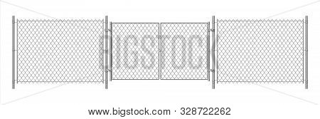 Metal Wire Fence. Realistic Steel Chain Fence And Detailing Mesh Gate. Vector Illustration Wire Secu