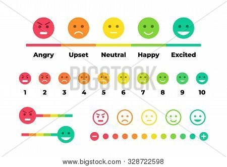 Satisfaction Rating. Feedback Scale With Emoticon Faces, Bad To Good User Experience. Vector Set Of