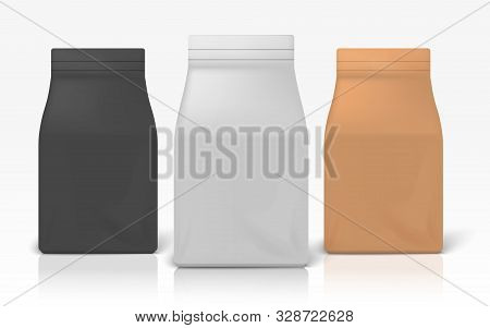 Coffee Package. Realistic White Black And Brown Zip Package For Flour Pasta Or Sugar. Vector Illustr