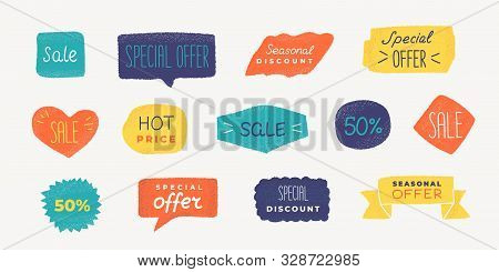 Grunge Promo Badge. Sale Text Banner With, Discount And Special Offer Label With Grunge Texture. Vec