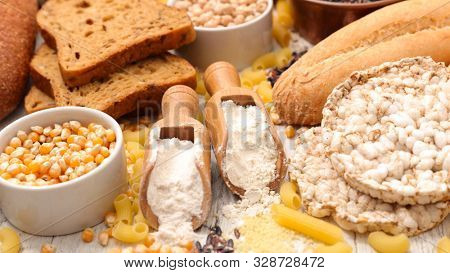 gluten free- assorted of food with gluten free