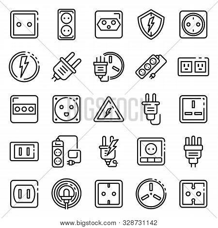Power Socket Icons Set. Outline Set Of Power Socket Vector Icons For Web Design Isolated On White Ba
