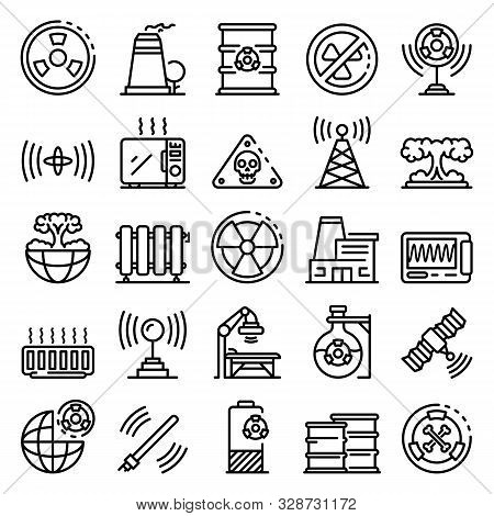 Radiation Icons Set. Outline Set Of Radiation Vector Icons For Web Design Isolated On White Backgrou