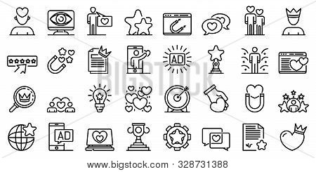 Engaging Content Icons Set. Outline Set Of Engaging Content Vector Icons For Web Design Isolated On