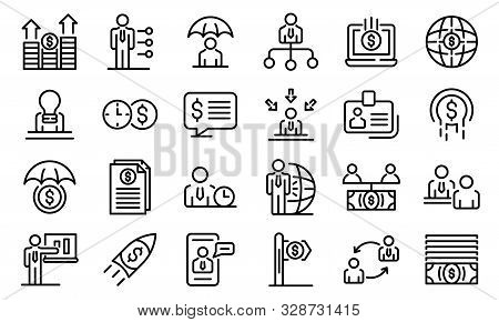 Financial Advisor Icons Set. Outline Set Of Financial Advisor Vector Icons For Web Design Isolated O