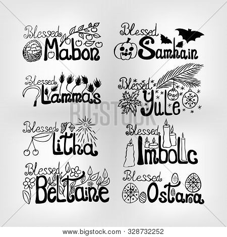 Set Of Vector Wheel Of Time Lettering: For Samhain, Yule, Imbolc, Ostara, Beltain, Litha, Lammas And