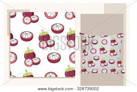 Mangosteen. Design Seamless Pattern With Modern Flat Style For Kids Design, Trendy And Modern Icon M