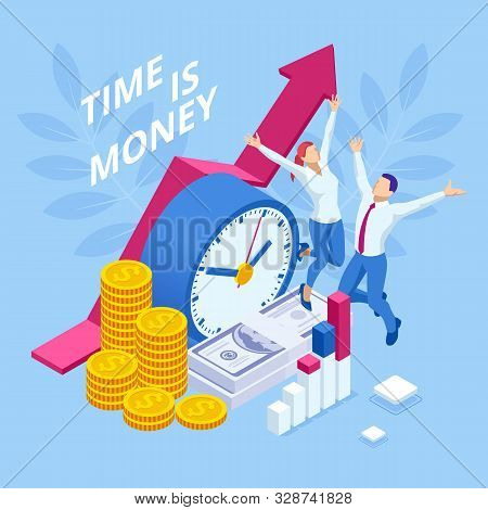 Time Is Money Isometric Concept. Business Financial Ideas, Alarm Clock And Stack Of Coin. Time Manag
