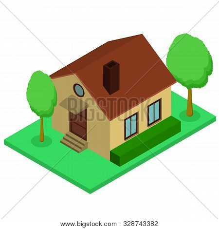 Isolated Isomatic Small House, Vector Illustration Property