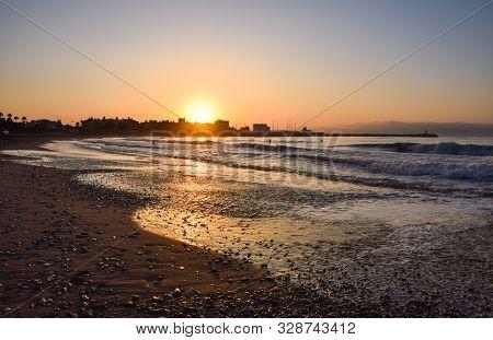 Golden Sunrise On The Beach. Málaga. Spain.