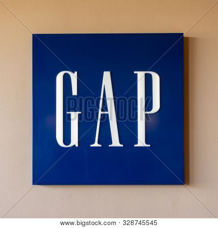 Valdichiana Outlet Village, Italy 09/17/2019: Picture Of Gap Logo. Gap Is An American Worldwide Clot