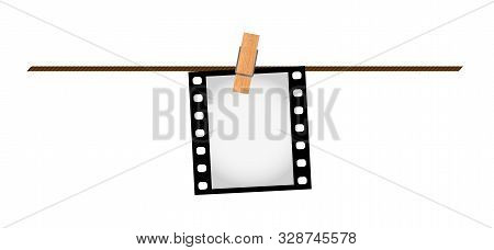 Vector Illustration Of One Empty Blank Photo 35 Mm Film Slide Hanging On A Rope With Wooden Clothesp