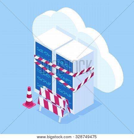 Isometric Server Under Repair. Big Data Dark Server Room With Server Equipment And Yellow Warning Ta