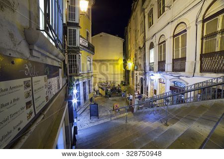 Coimbra, Portugal - Sept 6th 2019: Dos Gatos Street. Lower Coimbra At Night