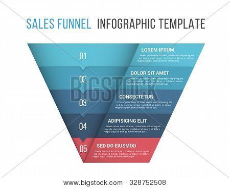 Funnel Diagram, 5 Segments, Infographic Template For Web, Business, Presentations, Vector Eps10 Illu