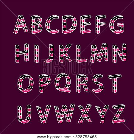Colorful 3d Font. Isometric Letters Set Isolated . 3d Tetris Block Typefont. Vector