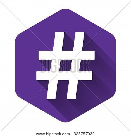 White Hashtag Icon Isolated With Long Shadow. Social Media Symbol. Modern Ui Website Navigation. Pur