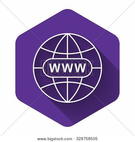White Go To Web Icon Isolated With Long Shadow. Www Icon. Website Pictogram. World Wide Web Symbol.