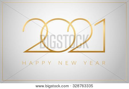 2021 Happy New Year Elegant Greeting Card Vector Illustration - Golden 2021 Logo Numbers On A Shiny