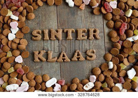 Dutch Candy Called Pepernoten Eaten During Sinterklaas Feast. Sinterklaas Is The Dutch Santa Claus