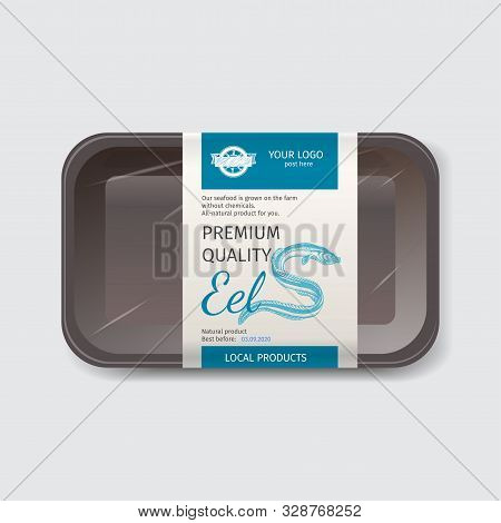 Packaging For Seafood. Label For Boxing Natural Products. Sea Eel.