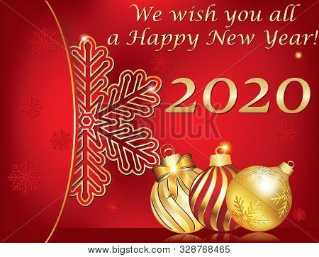 We Wish You A Happy New Year 2020! Greeting Card For Print, With Classic Design - Christmas Baubles