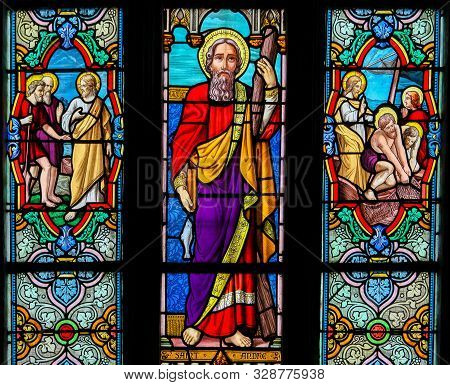 St Valery Sur Somme, France - October 5, 2019: Stained Glass In The Church Of St Martin In St Valery