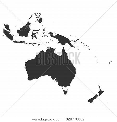 Oceania Map With Boundaries Vector Illustration. Black,white.