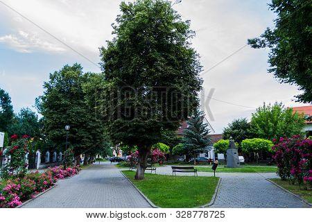 The Union Square Where Is Located The Statue Of The Alexandru Ioan Cuza, Bistrita City, Romania.