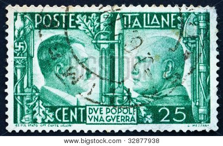 Postage stamp Italy 1941 Adolf Hitler and Benito Mussolini