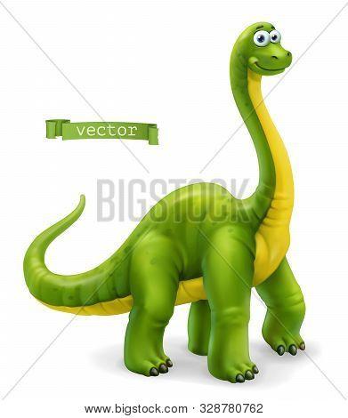 Brachiosaurus, Sauropod Dinosaur Cartoon Character. Funny Animal 3d Vector Icon