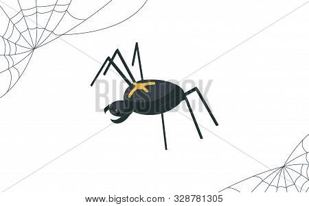 Creepy Spider And Cobweb Vector Illustration. Dangerous Arachnid, Scary Venomous Insect With Cross O