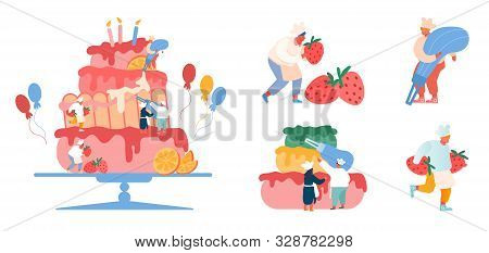 People Cook Festive Cake With Cream And Strawberries. Characters In Chef Uniform And Hats Decorating