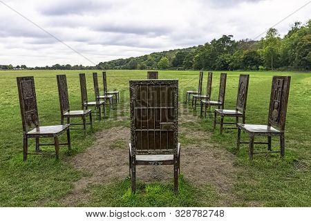 Runnymede, Surrey, Uk - October 2019: 12 Bronze Chairs - Jurors Artwork By Hew Locke On 20 October 2