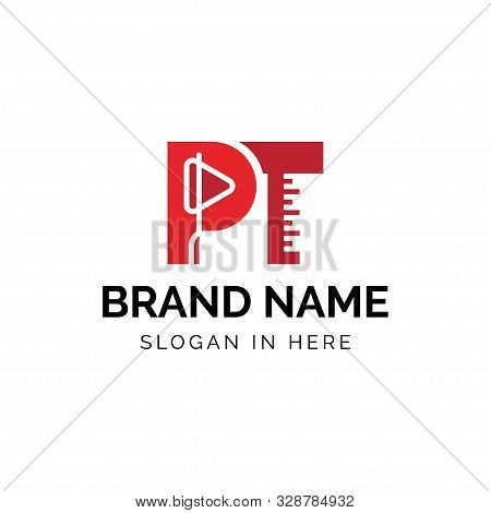 Initial Pt Letters With Reflex Hammer And Goniometer Logo Design Vector Illustration