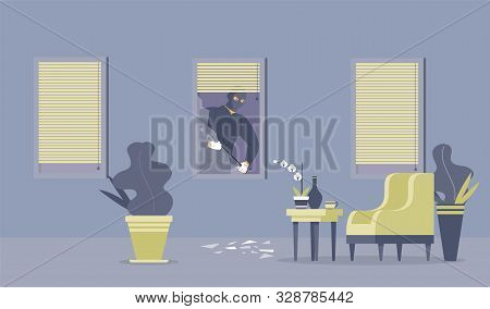 Crime Commitment, Housebreak Flat Vector Illustration. Dangerous Thief With Crowbar, Robber In Balac