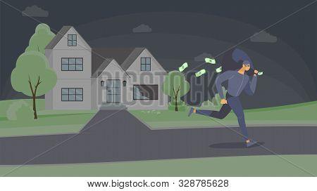 Robber Stealing Cash Flat Vector Illustration. Dangerous Criminal In Mask Escaping With Money Bag Ca