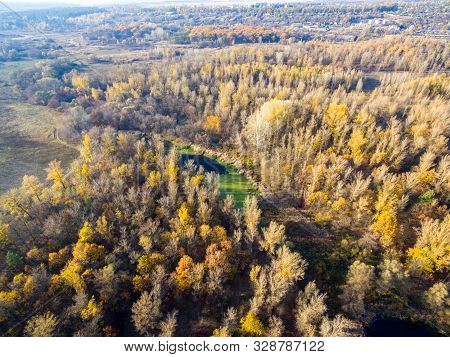 Aerial View To Autumn Forest And River Bend Of Seversky Donets, Kharkiv Region, Ukraine