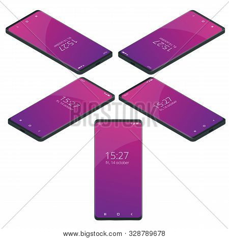 Isometric Set Of Realistic Smartphone Mockup. Template For Infographics Or Presentation. Digital Gad