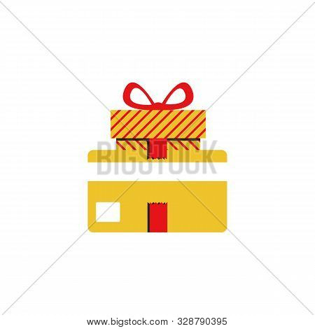 Gift Card And Gift Box With Ribbon, Loyalty Program, Earn Points, Redeem Present Box.