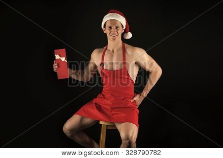 I Have Gift For You. Macho Muscular Torso Posing With Gift Box. Santa Claus Attractive Chef. Sexy At