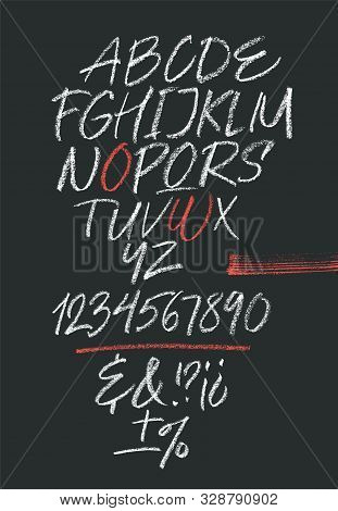 Handwritten Font. Script. Latin Calligraphic Set With Numbers And Punctuation Written With Oil Paste